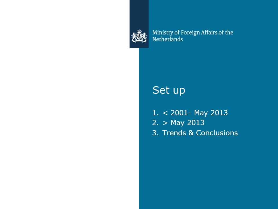 Set up 1.< 2001- May 2013 2.> May 2013 3.Trends & Conclusions