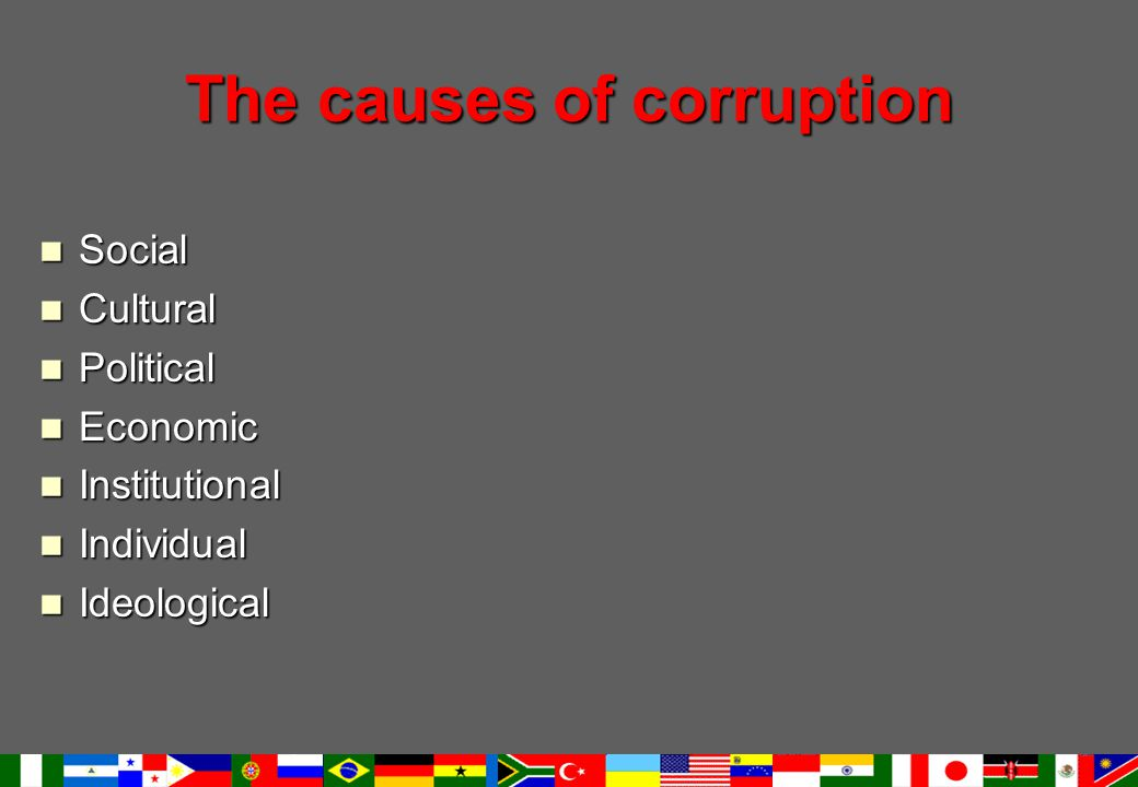 The causes of corruption Social Social Cultural Cultural Political Political Economic Economic Institutional Institutional Individual Individual Ideological Ideological