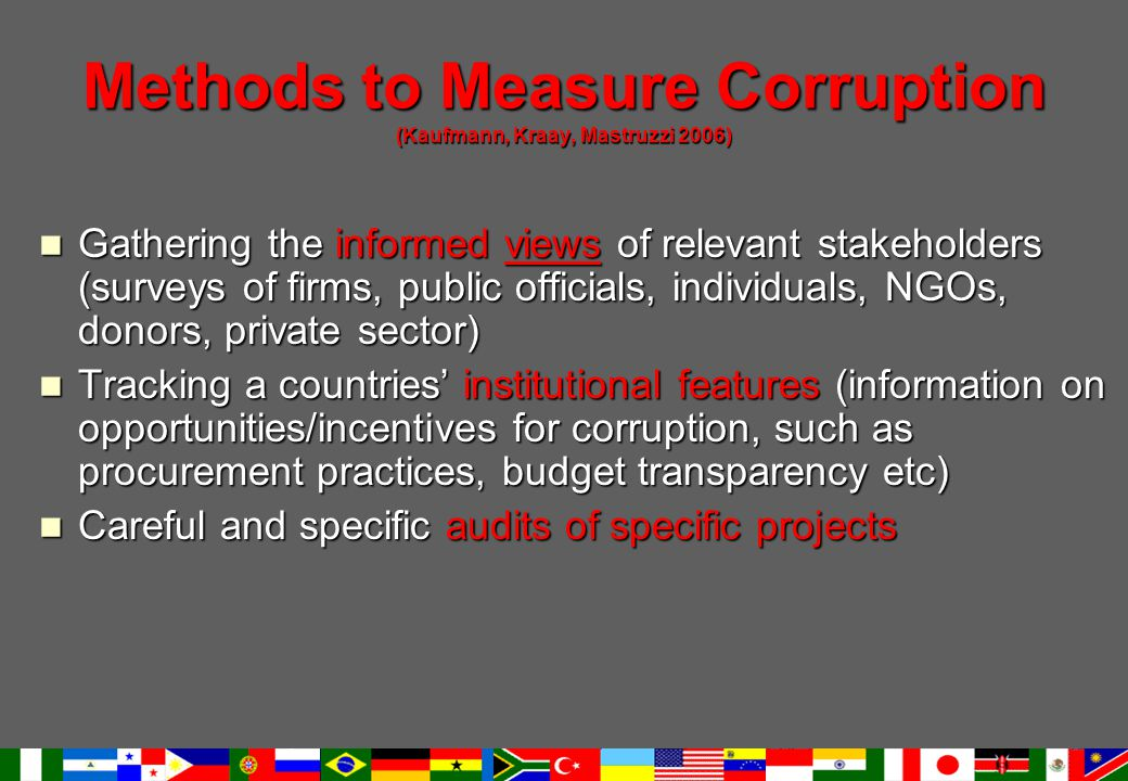 Methods to Measure Corruption (Kaufmann, Kraay, Mastruzzi 2006) Gathering the informed views of relevant stakeholders (surveys of firms, public officials, individuals, NGOs, donors, private sector) Gathering the informed views of relevant stakeholders (surveys of firms, public officials, individuals, NGOs, donors, private sector) Tracking a countries' institutional features (information on opportunities/incentives for corruption, such as procurement practices, budget transparency etc) Tracking a countries' institutional features (information on opportunities/incentives for corruption, such as procurement practices, budget transparency etc) Careful and specific audits of specific projects Careful and specific audits of specific projects