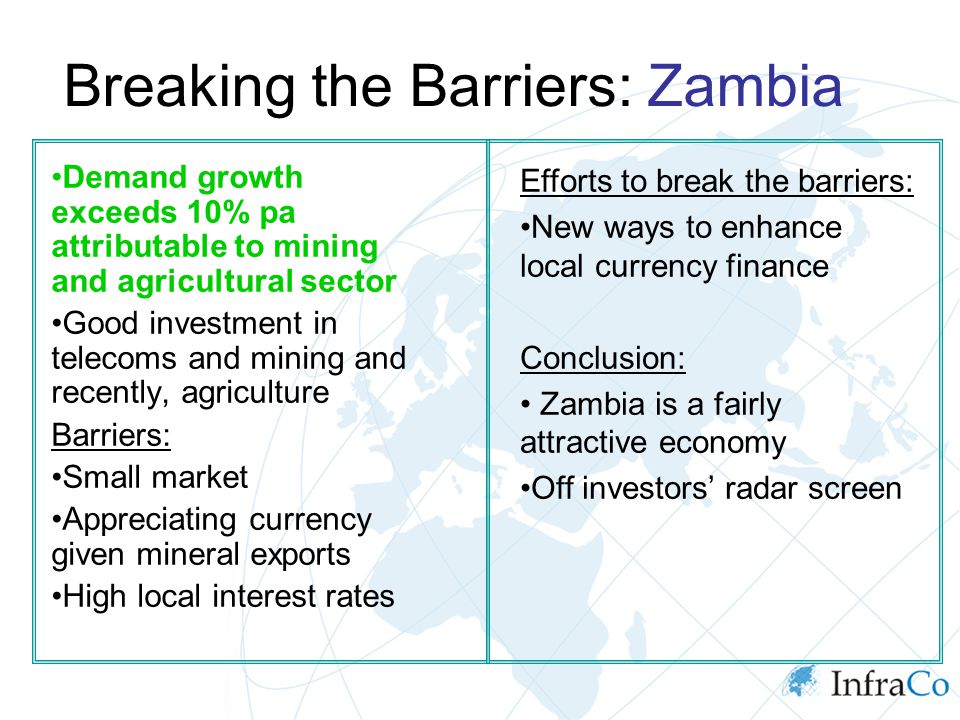 Breaking the Barriers: Zambia Demand growth exceeds 10% pa attributable to mining and agricultural sector Good investment in telecoms and mining and r