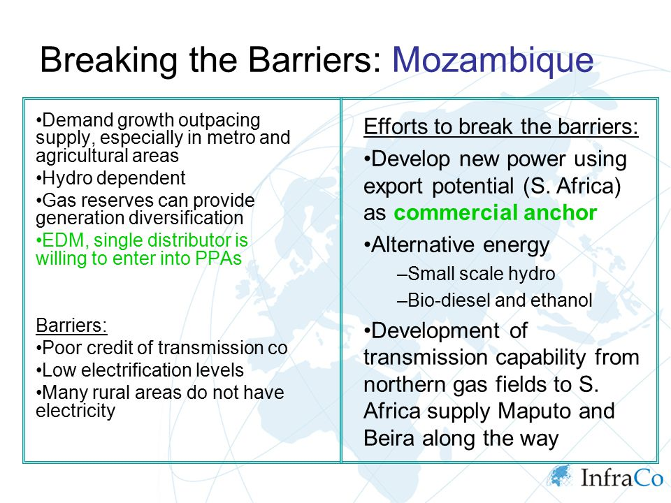 Breaking the Barriers: Mozambique Demand growth outpacing supply, especially in metro and agricultural areas Hydro dependent Gas reserves can provide