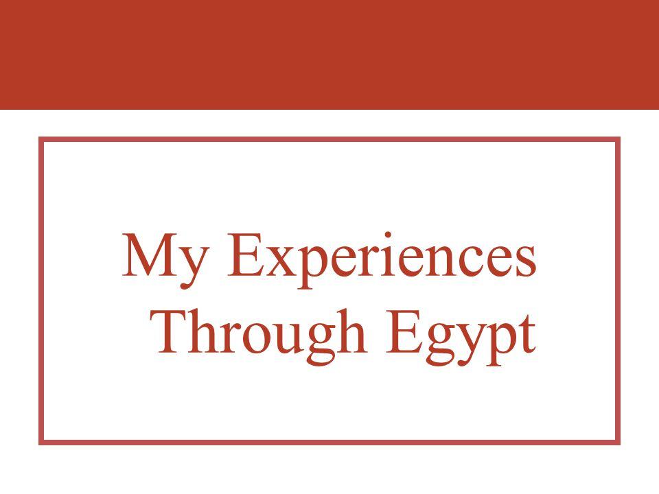 My Experiences Through Egypt