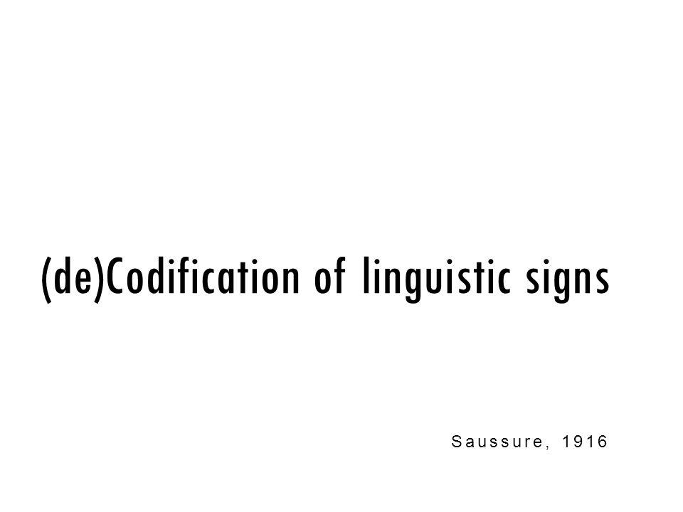 (de)Codification of linguistic signs Saussure, 1916