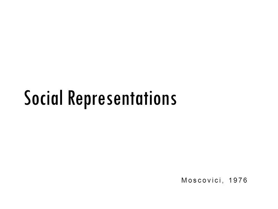 Social Representations Moscovici, 1976
