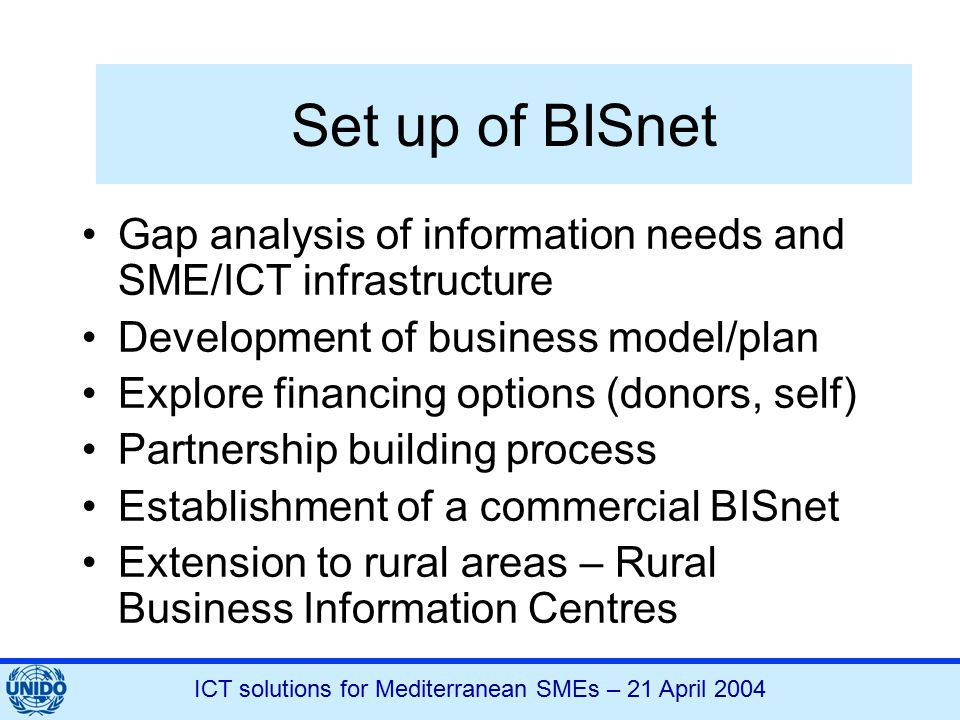 ICT solutions for Mediterranean SMEs – 21 April 2004 Set up of BISnet Gap analysis of information needs and SME/ICT infrastructure Development of busi