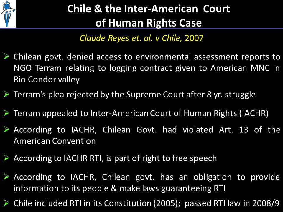 Chile & the Inter-American Court of Human Rights Case Claude Reyes et.