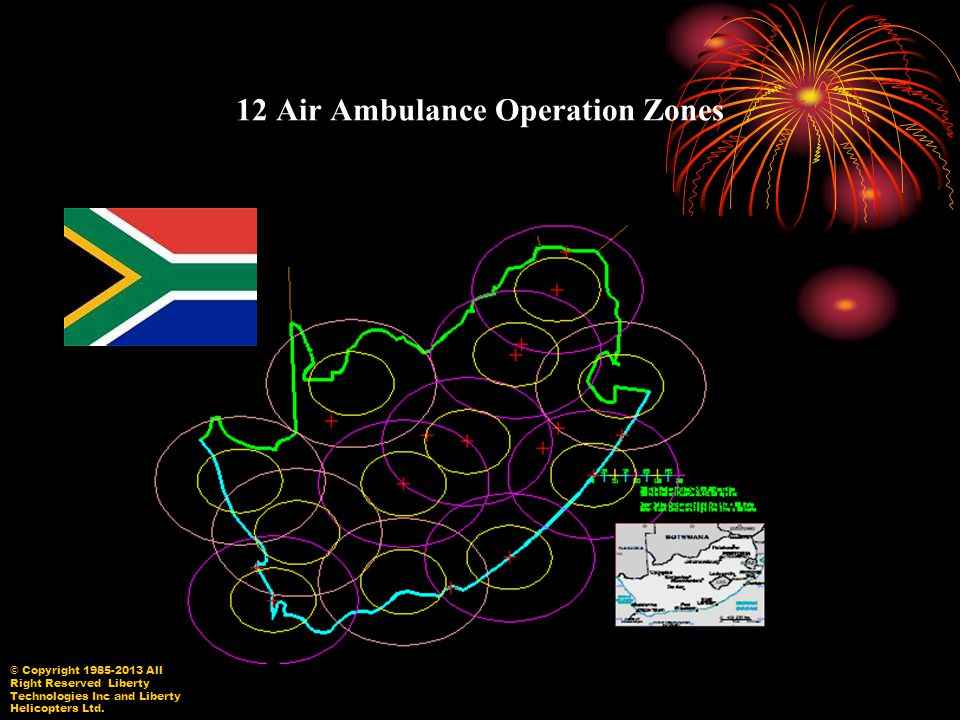 12 Air Ambulance Operation Zones © Copyright 1985-2013 All Right Reserved Liberty Technologies Inc and Liberty Helicopters Ltd.