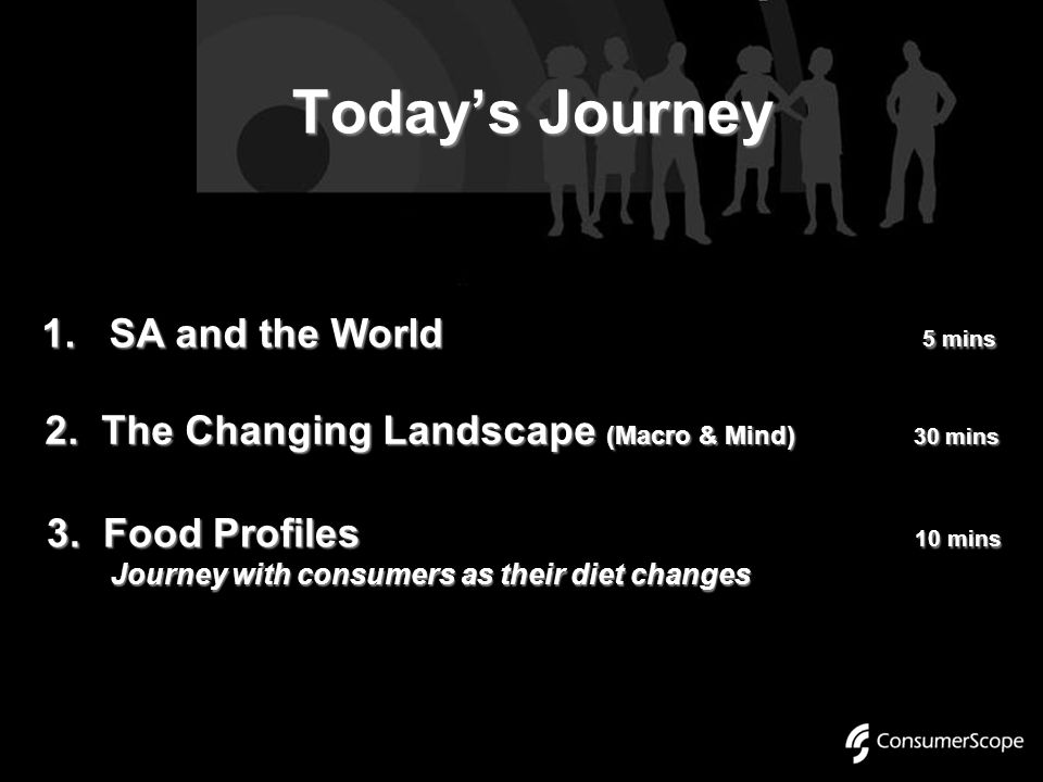 Today's Journey 1. SA and the World 5 mins 3. Food Profiles 10 mins Journey with consumers as their diet changes Journey with consumers as their diet