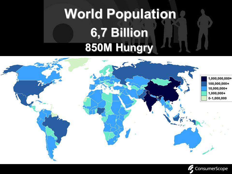 World Population 6,7 Billion 850M Hungry