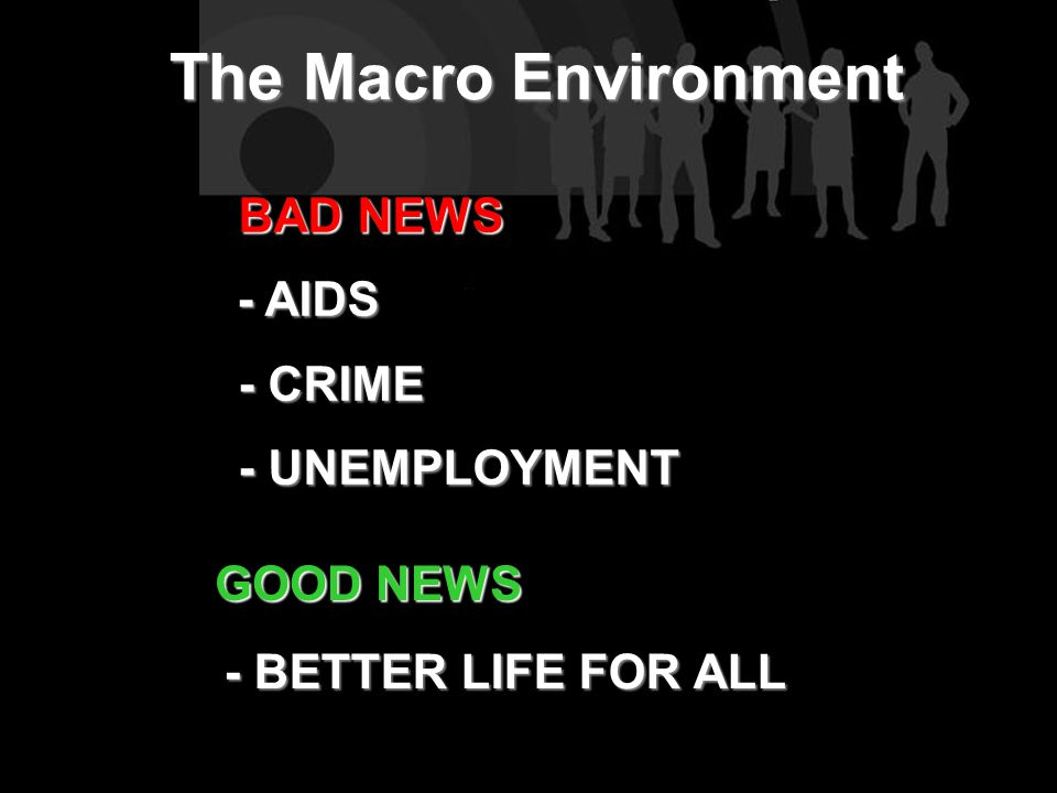 The Macro Environment BAD NEWS BAD NEWS - AIDS - CRIME - CRIME - UNEMPLOYMENT - UNEMPLOYMENT GOOD NEWS - BETTER LIFE FOR ALL