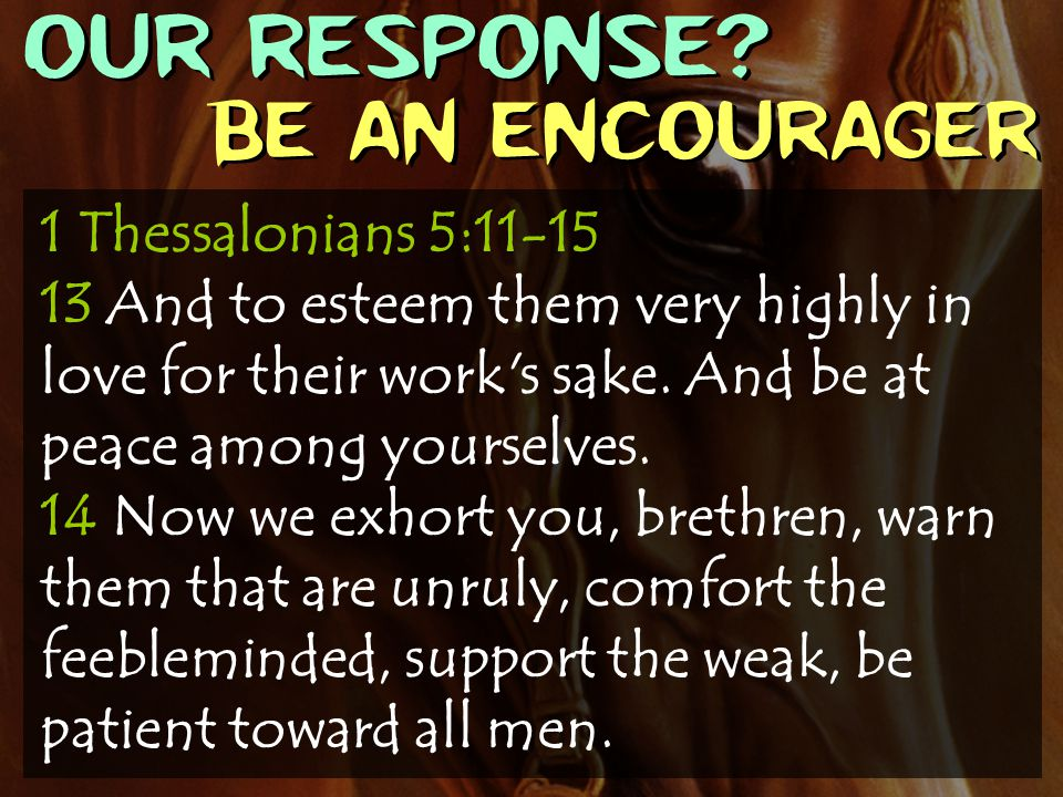 OUR RESPONSE? Be an encourager 1 Thessalonians 5:11-15 13 And to esteem them very highly in love for their work's sake. And be at peace among yourselv