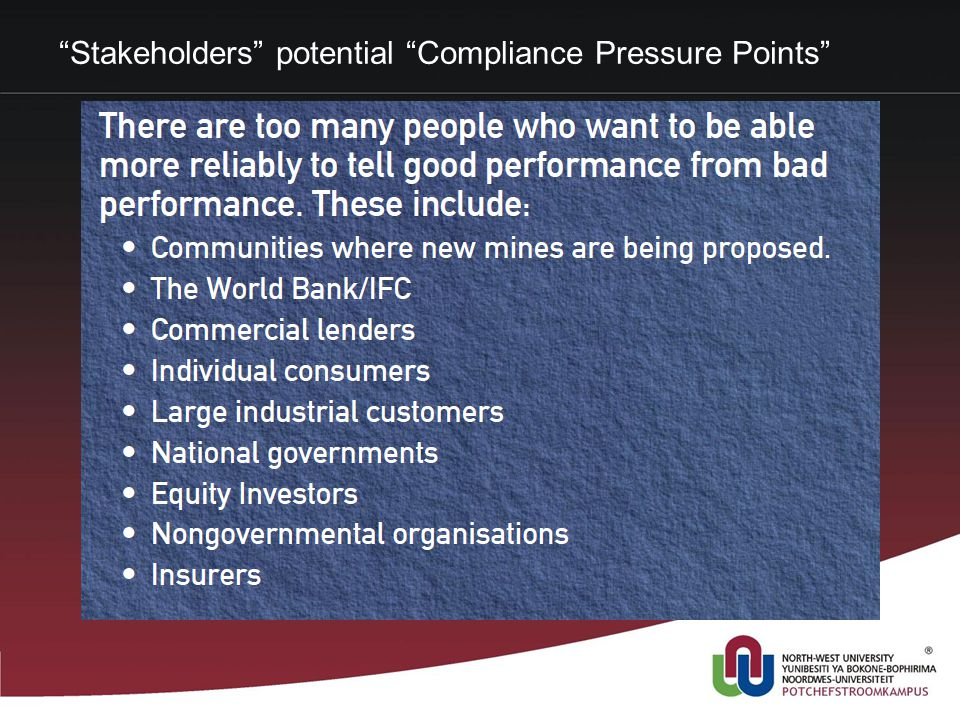 Stakeholders potential Compliance Pressure Points