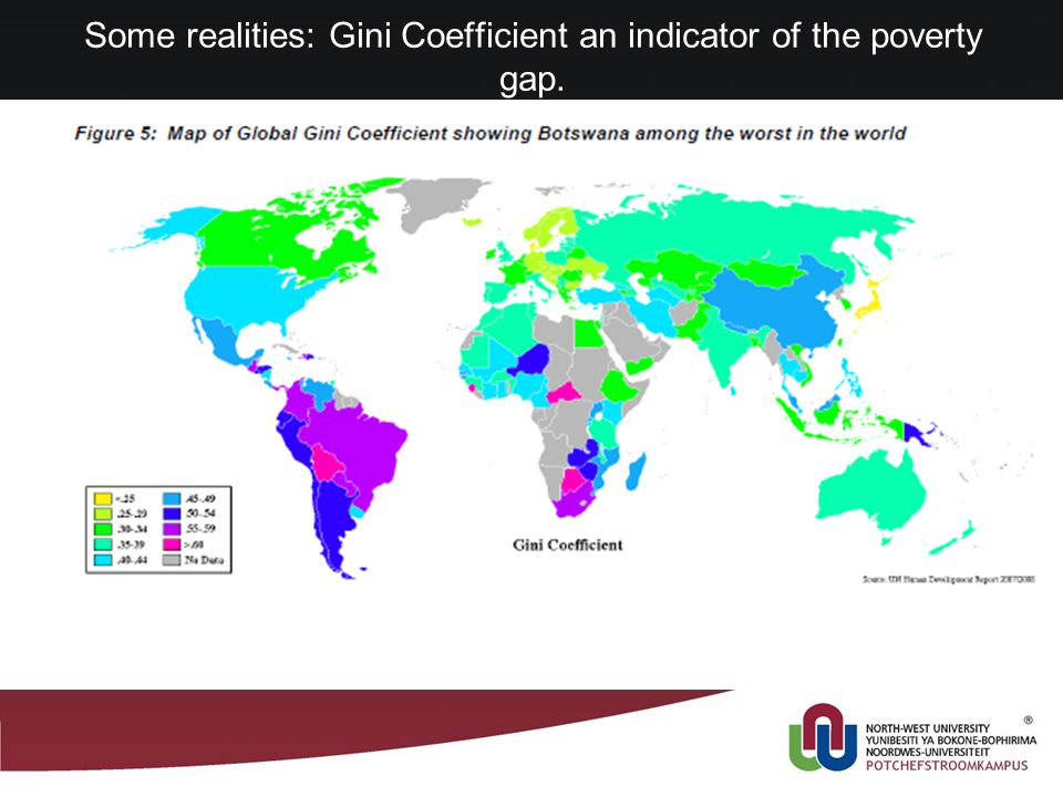 Some realities: Gini Coefficient an indicator of the poverty gap.