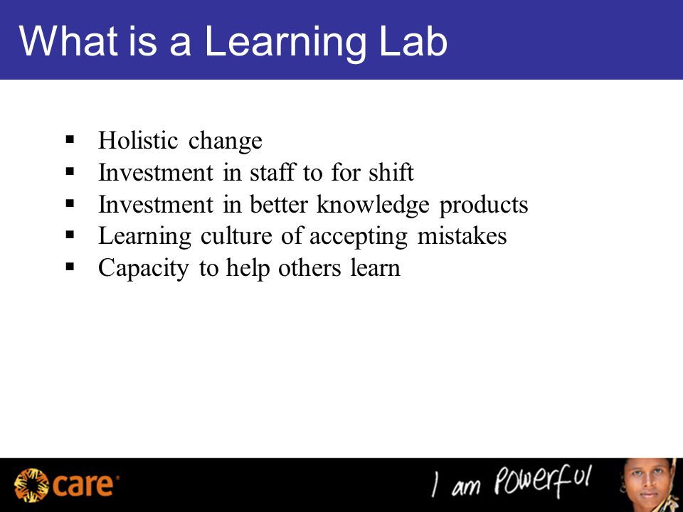 What is a Learning Lab  Holistic change  Investment in staff to for shift  Investment in better knowledge products  Learning culture of accepting mistakes  Capacity to help others learn