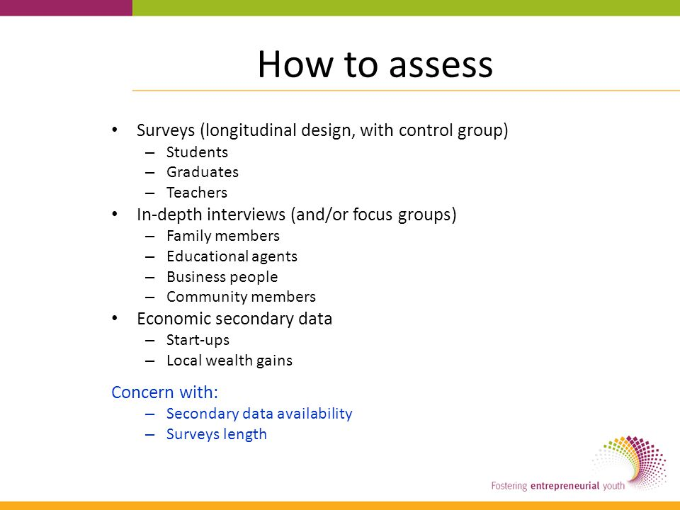 How to assess Surveys (longitudinal design, with control group) – Students – Graduates – Teachers In-depth interviews (and/or focus groups) – Family members – Educational agents – Business people – Community members Economic secondary data – Start-ups – Local wealth gains Concern with: – Secondary data availability – Surveys length