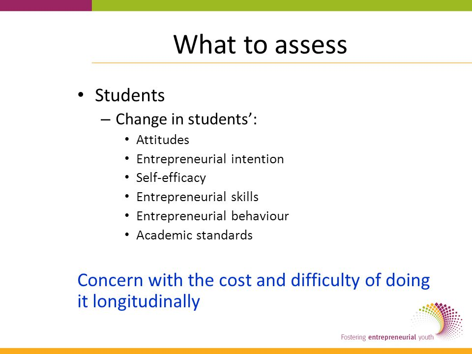 What to assess Students – Change in students': Attitudes Entrepreneurial intention Self-efficacy Entrepreneurial skills Entrepreneurial behaviour Academic standards Concern with the cost and difficulty of doing it longitudinally
