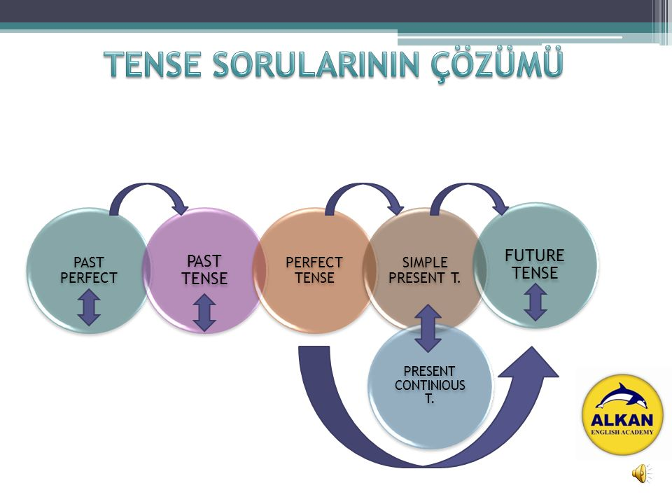 PAST PERFECT PAST TENSE PERFECT TENSE SIMPLE PRESENT T. PRESENT CONTINIOUS T. FUTURE TENSE