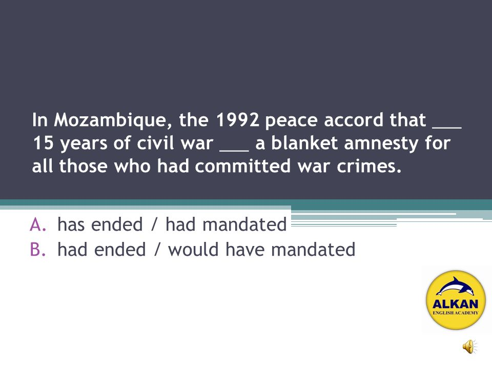 In Mozambique, the 1992 peace accord that ___ 15 years of civil war ___ a blanket amnesty for all those who had committed war crimes.