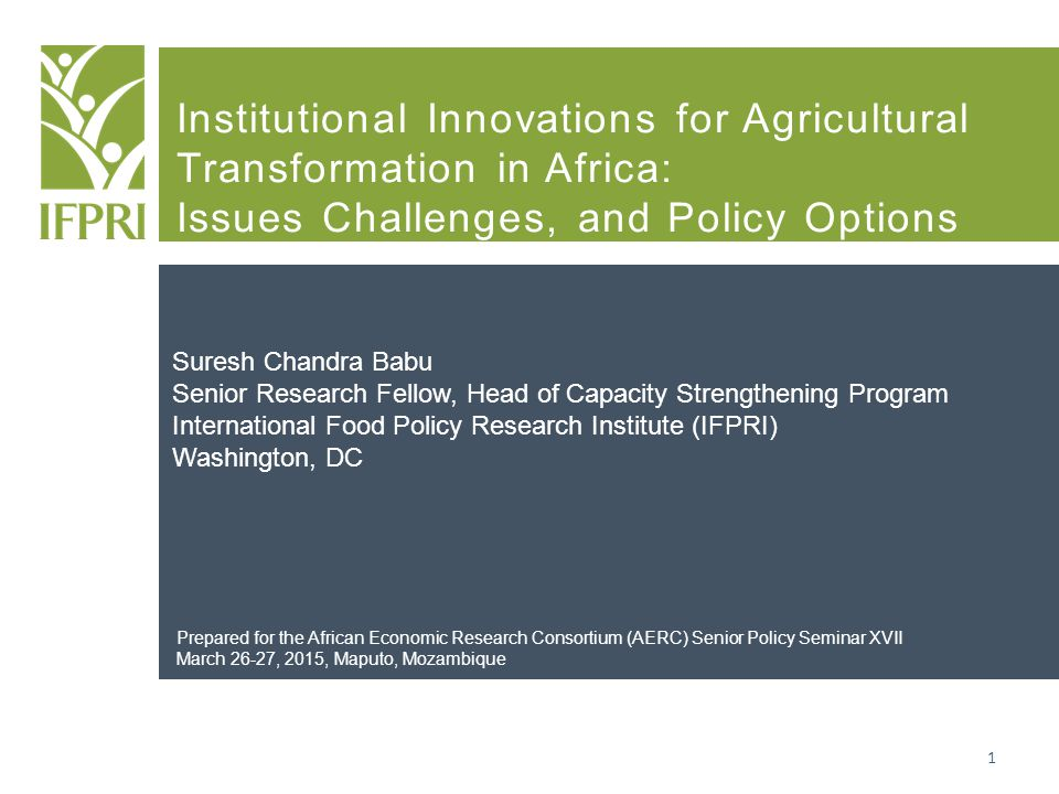 Institutional Innovations for Agricultural Transformation in Africa: Issues Challenges, and Policy Options Suresh Chandra Babu Senior Research Fellow,