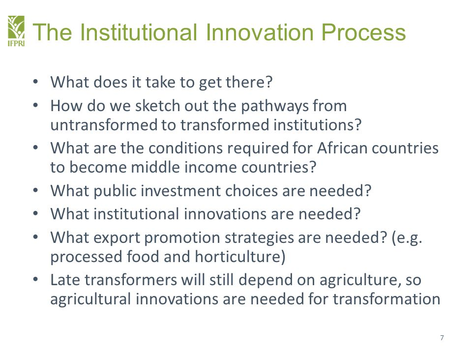 What institutional innovations are needed in research.