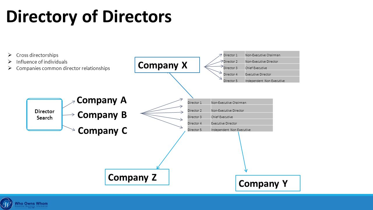 Company X Company Y Company Z Director 1Non-Executive Chairman Director 2Non-Executive Director Director 3Chief Executive Director 4Executive Director Director 5Independent Non Executive Director Search Company A Company B Company C  Cross directorships  Influence of individuals  Companies common director relationships Director 1Non-Executive Chairman Director 2Non-Executive Director Director 3Chief Executive Director 4Executive Director Director 5Independent Non Executive Directory of Directors