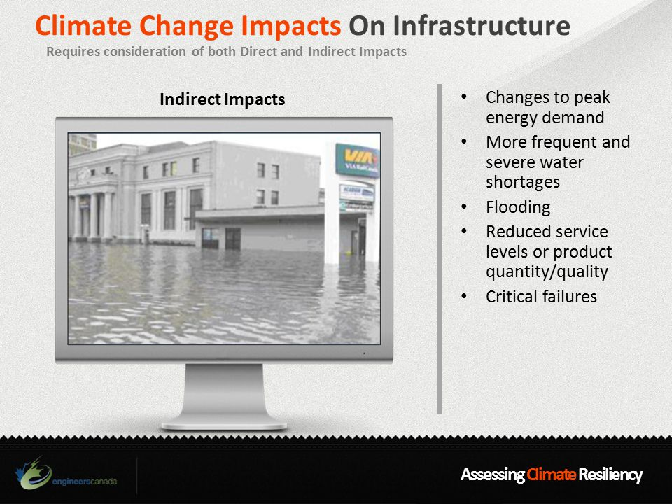 Assessing Climate Resiliency Climate Change Impacts On Infrastructure Requires consideration of both Direct and Indirect Impacts Changes to peak energy demand More frequent and severe water shortages Flooding Reduced service levels or product quantity/quality Critical failures Indirect Impacts