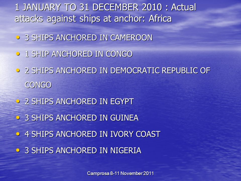 1 JANUARY TO 31 DECEMBER 2010 : Actual attacks against ships at anchor: Africa 3 SHIPS ANCHORED IN CAMEROON 3 SHIPS ANCHORED IN CAMEROON 1 SHIP ANCHORED IN CONGO 1 SHIP ANCHORED IN CONGO 2 SHIPS ANCHORED IN DEMOCRATIC REPUBLIC OF CONGO 2 SHIPS ANCHORED IN DEMOCRATIC REPUBLIC OF CONGO 2 SHIPS ANCHORED IN EGYPT 2 SHIPS ANCHORED IN EGYPT 3 SHIPS ANCHORED IN GUINEA 3 SHIPS ANCHORED IN GUINEA 4 SHIPS ANCHORED IN IVORY COAST 4 SHIPS ANCHORED IN IVORY COAST 3 SHIPS ANCHORED IN NIGERIA 3 SHIPS ANCHORED IN NIGERIA Camprosa 8-11 November 2011