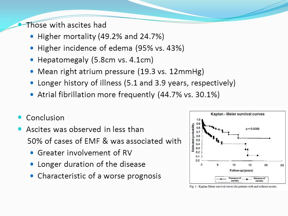 Those with ascites had Higher mortality (49.2% and 24.7%) Higher incidence of edema (95% vs.