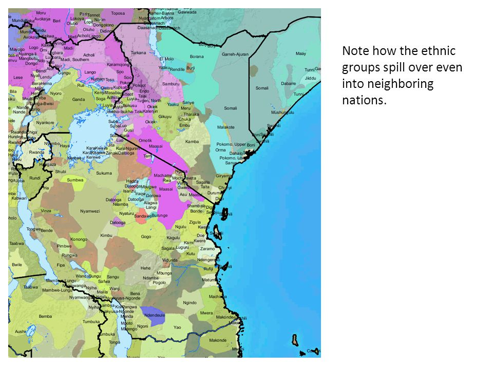 Note how the ethnic groups spill over even into neighboring nations.