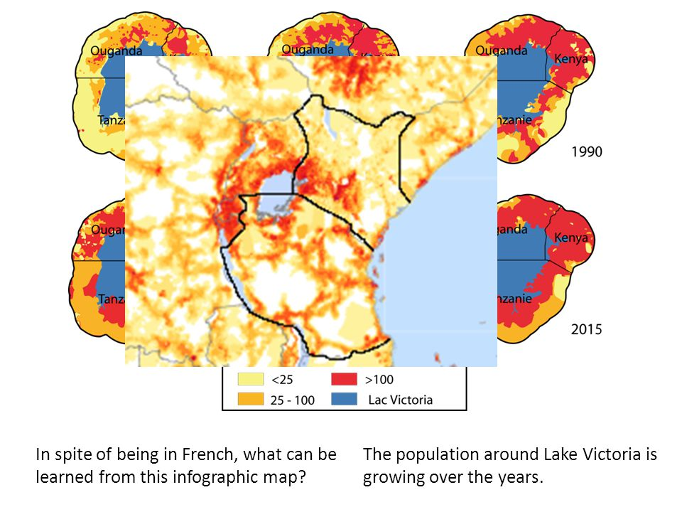 In spite of being in French, what can be learned from this infographic map? The population around Lake Victoria is growing over the years.