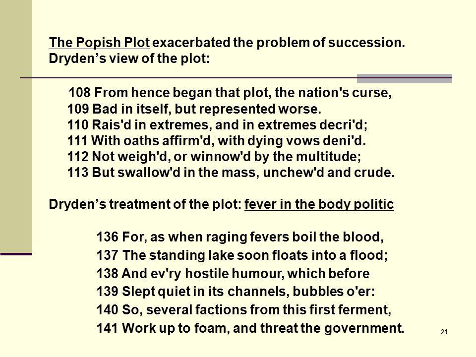 21 The Popish Plot exacerbated the problem of succession.