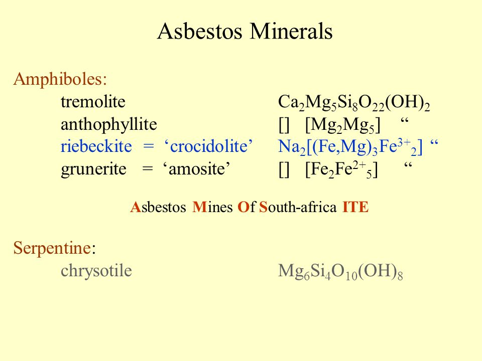 "Asbestos Minerals Amphiboles: tremoliteCa 2 Mg 5 Si 8 O 22 (OH) 2 anthophyllite[] [Mg 2 Mg 5 ] "" riebeckite = 'crocidolite' Na 2 [(Fe,Mg) 3 Fe 3+ 2 ]"