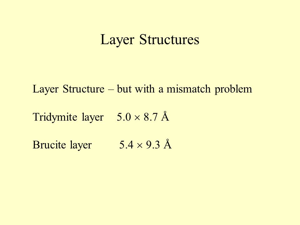 Layer Structures Layer Structure – but with a mismatch problem Tridymite layer 5.0  8.7 Å Brucite layer 5.4  9.3 Å