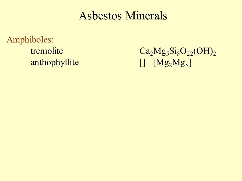 Asbestos Minerals Amphiboles: tremoliteCa 2 Mg 5 Si 8 O 22 (OH) 2 anthophyllite[] [Mg 2 Mg 5 ]