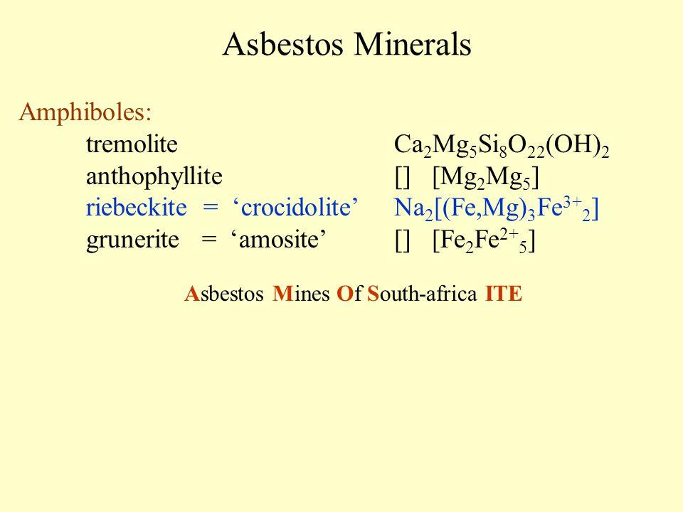Asbestos Minerals Amphiboles: tremoliteCa 2 Mg 5 Si 8 O 22 (OH) 2 anthophyllite[] [Mg 2 Mg 5 ] riebeckite = 'crocidolite' Na 2 [(Fe,Mg) 3 Fe 3+ 2 ] gr
