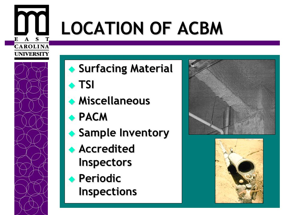 LOCATION OF ACBM  Surfacing Material  TSI  Miscellaneous  PACM  Sample Inventory  Accredited Inspectors  Periodic Inspections