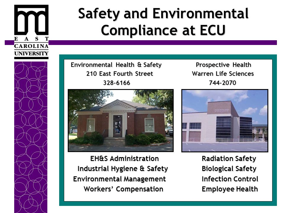 Safety and Environmental Compliance at ECU Environmental Health & Safety Prospective Health Environmental Health & Safety Prospective Health 210 East Fourth Street Warren Life Sciences 210 East Fourth Street Warren Life Sciences 328-6166744-2070 328-6166744-2070 EH&S Administration Radiation Safety EH&S Administration Radiation Safety Industrial Hygiene & Safety Biological Safety Industrial Hygiene & Safety Biological Safety Environmental Management Infection Control Environmental Management Infection Control Workers' Compensation Employee Health Workers' Compensation Employee Health