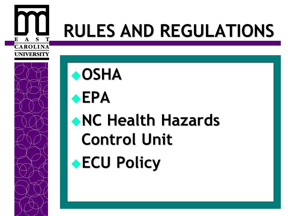 RULES AND REGULATIONS  OSHA  EPA  NC Health Hazards Control Unit  ECU Policy