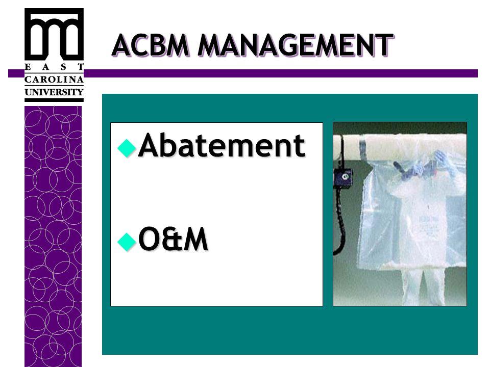 ACBM MANAGEMENT  Abatement  O&M