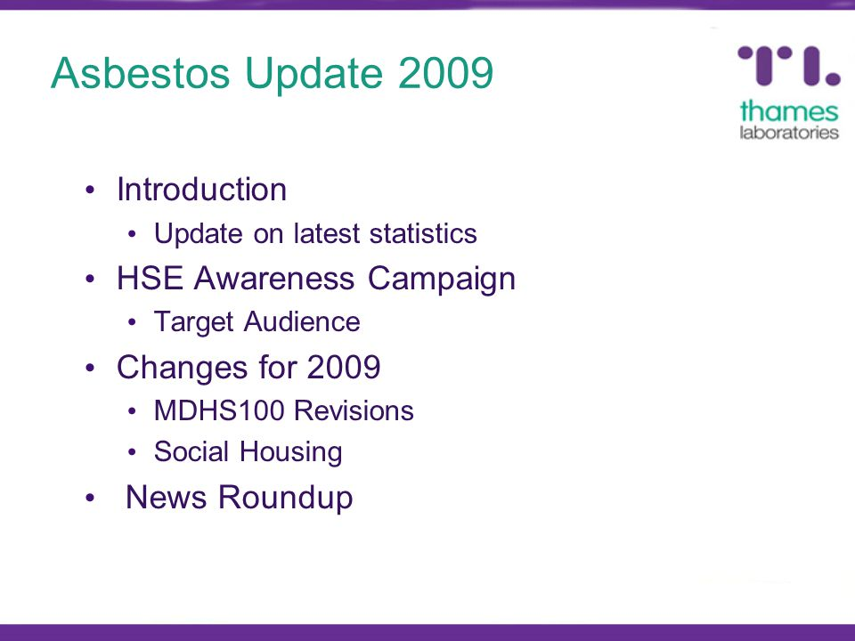 Introduction Update on latest statistics HSE Awareness Campaign Target Audience Changes for 2009 MDHS100 Revisions Social Housing News Roundup
