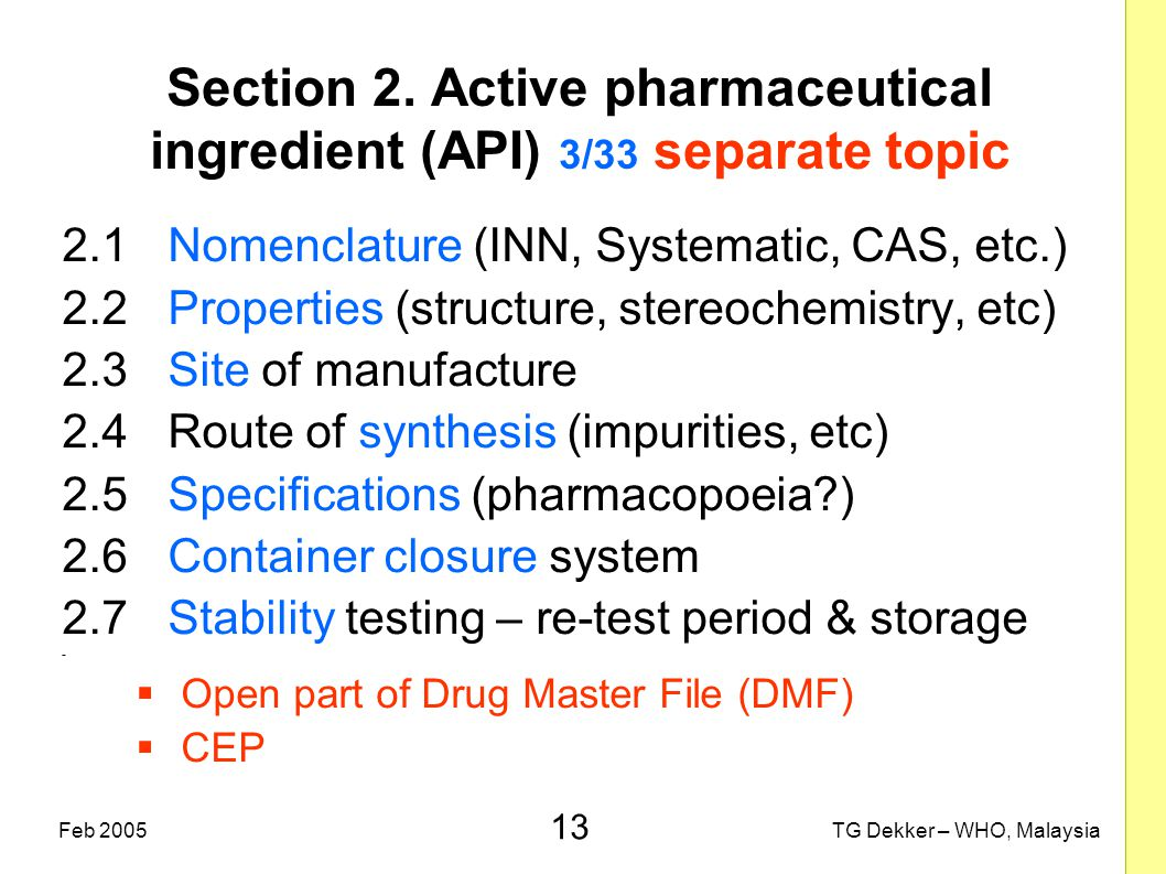 13 TG Dekker – WHO, MalaysiaFeb 2005 Section 2. Active pharmaceutical ingredient (API) 3/33 separate topic 2.1Nomenclature (INN, Systematic, CAS, etc.