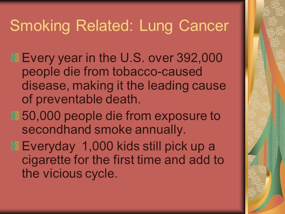 Smoking Related: Lung Cancer Every year in the U.S. over 392,000 people die from tobacco-caused disease, making it the leading cause of preventable de