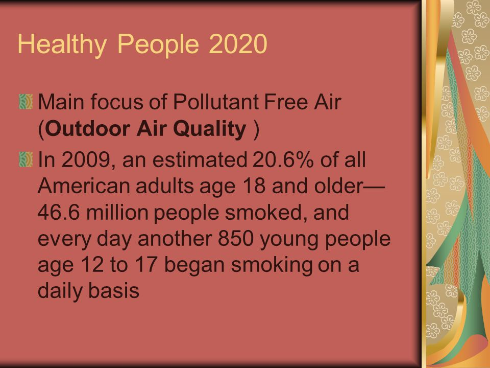 Healthy People 2020 Main focus of Pollutant Free Air (Outdoor Air Quality ) In 2009, an estimated 20.6% of all American adults age 18 and older— 46.6