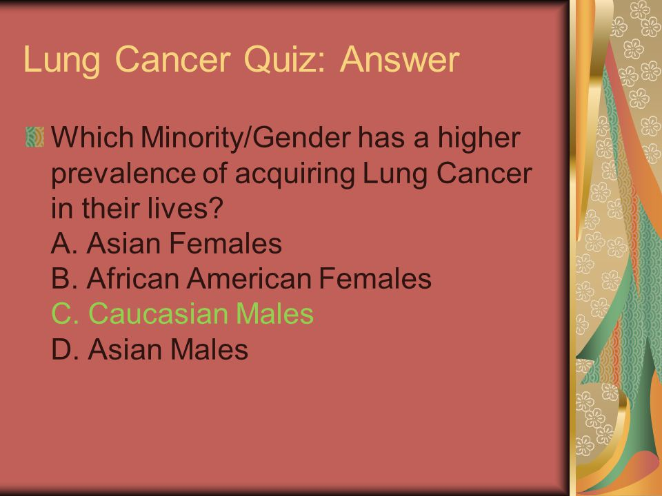Lung Cancer Quiz: Answer Which Minority/Gender has a higher prevalence of acquiring Lung Cancer in their lives? A. Asian Females B. African American F