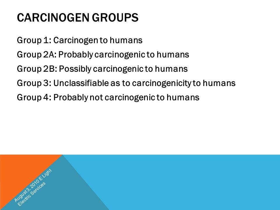 CARCINOGEN GROUPS Group 1: Carcinogen to humans Group 2A: Probably carcinogenic to humans Group 2B: Possibly carcinogenic to humans Group 3: Unclassif