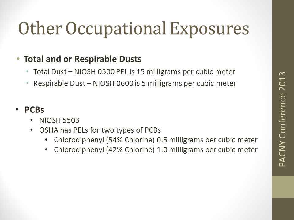 Other Occupational Exposures Total and or Respirable Dusts Total Dust – NIOSH 0500 PEL is 15 milligrams per cubic meter Respirable Dust – NIOSH 0600 is 5 milligrams per cubic meter PACNY Conference 2013 PCBs NIOSH 5503 OSHA has PELs for two types of PCBs Chlorodiphenyl (54% Chlorine) 0.5 milligrams per cubic meter Chlorodiphenyl (42% Chlorine) 1.0 milligrams per cubic meter