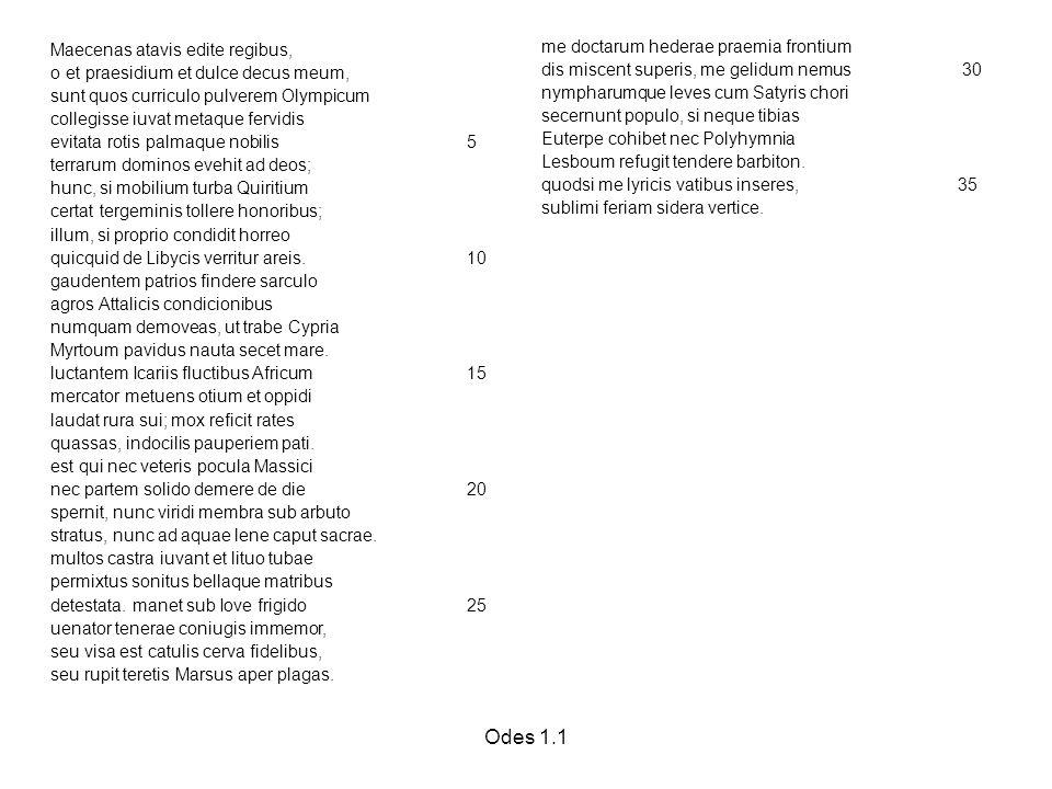 Odes 1.1 Maecenas atavis edite regibus, o et praesidium et dulce decus meum, sunt quos curriculo pulverem Olympicum collegisse iuvat metaque fervidis evitata rotis palmaque nobilis 5 terrarum dominos evehit ad deos; hunc, si mobilium turba Quiritium certat tergeminis tollere honoribus; illum, si proprio condidit horreo quicquid de Libycis verritur areis.