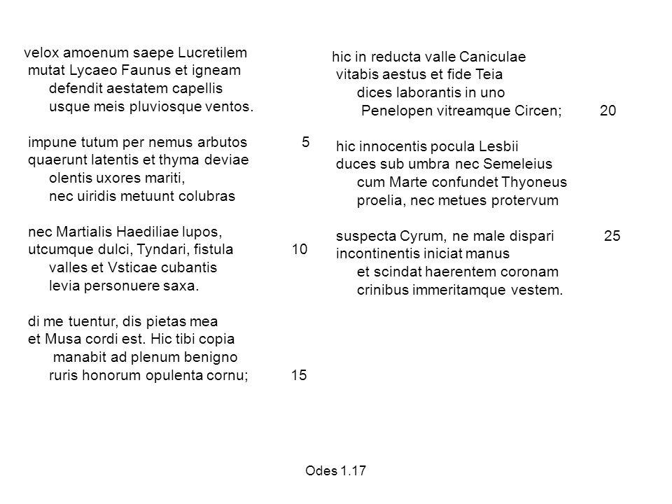 Odes 1.17 velox amoenum saepe Lucretilem mutat Lycaeo Faunus et igneam defendit aestatem capellis usque meis pluviosque ventos.