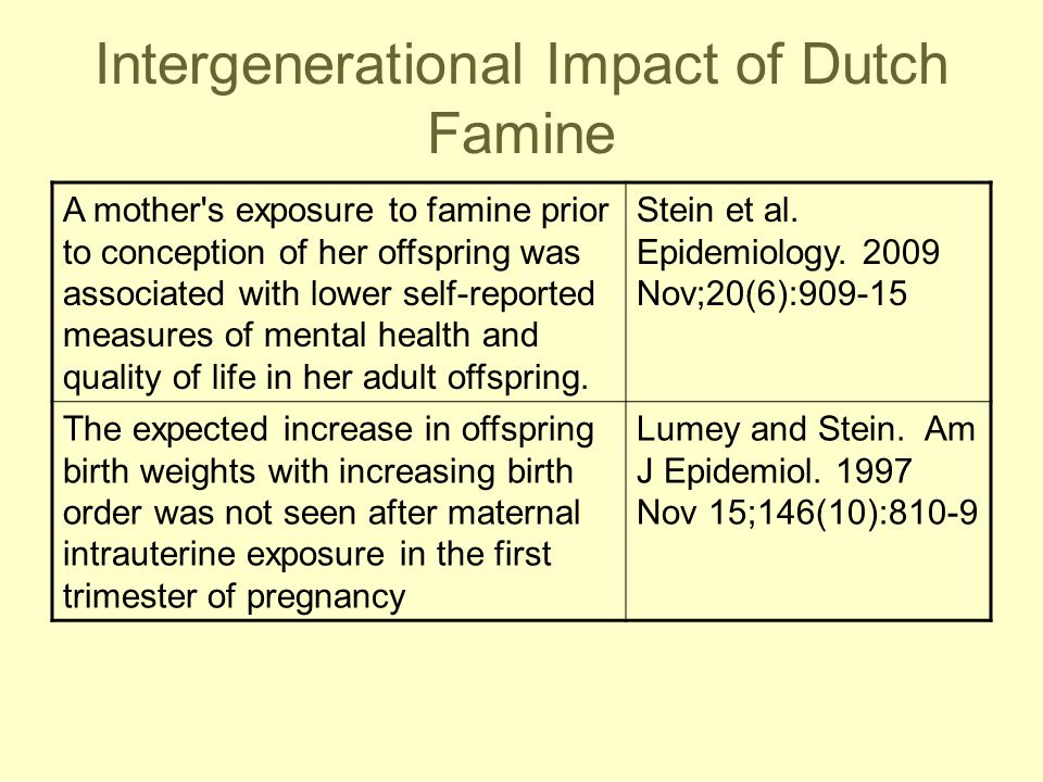 Intergenerational Impact of Dutch Famine A mother's exposure to famine prior to conception of her offspring was associated with lower self-reported me