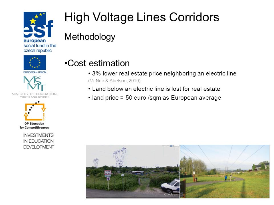 High Voltage Lines Corridors Methodology Cost estimation 3% lower real estate price neighboring an electric line (McNair & Abelson, 2010) Land below an electric line is lost for real estate land price = 50 euro /sqm as European average